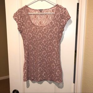 Charlotte Russe Mauve Pink Floral Lace Tee